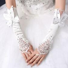 White Fingerless Satin Long Lace Bowknot Gloves Bridal Wedding Party Accessories