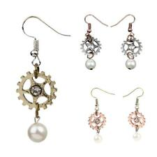 Fashion Elegant Fashion Steampunk Faux Pearls Gear Dangle Drop Ear Stud Earrings