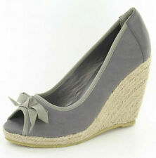 SALE LADIES SPOT F2116 ON PEEP TOE ESPADRILLE WEDGE SANDALS WITH BOW