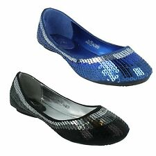 SALE GIRLS CUTIE H2193 BLUE BLACK SLIP ON FLAT SEQUIN PARTY SHOES £7.99