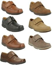 SWIFT TURN- MENS CLARKS LIGHTWEIGHT FLEXIBLE WIDE FITTING COMFY VELCRO SHOES