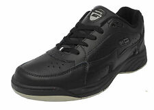 Mens Dek Non Marking Sole WIDE Fitting Cushioned Lace Up Leather Trainers Black
