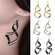 1Pair Fashion Womens Jewelry Charming Spiral Twist Big Long Hook Dangle Earring