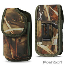Nylon Canvas Tactical Camouflage Holster Pouch Case + Belt Clip for LARGE PHONES