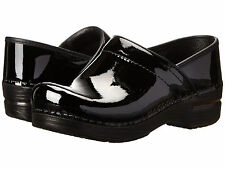 Dansko PRO XP PATENT Womens Black Leather Slip Resistant Clogs Shoes