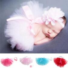 Cute Newborn Toddler Baby Girls Tutu Skirt & Headband Photo Props Costume Outfit
