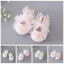 Baby Girl Infant Toddler Nonslip Gauze Lace Flower Soft Sole Frilly Shoes Cotton