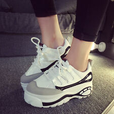 Free Womens Platform Creeper Sport Shoes Wedge Heel Lace Up Athletic Sneakers Sz