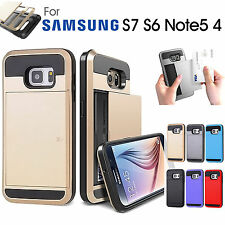 Slide Card Armor Hard Heavy Duty Case Cover for Samsung Galaxy S7 S6 Note4 Note5