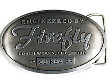 "FIREFLY/SERENITY TV SHOW ""FIREFLY COACHWORKS LTD"" PEWTER 4"" ACCROSS BELT BUCKLE"