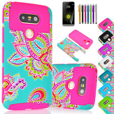 NEW FOR LG G5 PHONE ROSE TUFF HYBRID RUBBERIZED SOFT/HARD SKIN STAND COVER CASE
