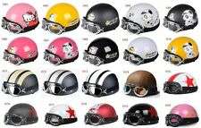 New Open Face Half of Motorcycle Scooter Helmet Goggles/Visor 20 Color M L XL