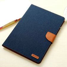 Denim Jean Cloth Leather Card Stand Case Smart Cover For Apple iPad Pro Air Mini