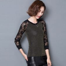 Women Round Neck Long Sleeve Lace Sexy Purl Splicing Lace OL Work T-Shirt Blouse