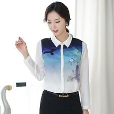 Women OL Elegant Fashion Prints POLO Collar Long Sleeve Chiffon Blouse Shirt Top