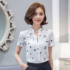 Women Summer Fashion Print V Neck Chiffon Blouses Short Sleeve Career Shirt Tops