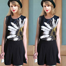 Elegant Summer Floral Printed Sleeveless Tank Vests Casual Tops T-Shirts Soft