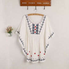 Women Ethnic Mexican Boho Floral Embroidered Indian Vintage Batwing Chic Blouse