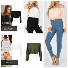 WOMENS LADIES LONG SLEEVE CELEB STYLE GYPSY BRADOT OFF SHOULDER CROP TOP BLOUSE