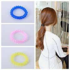 Women Elastic Rubber Hairband Phone Spiral Rope Wire Hair Tie Ring Band Ponytail
