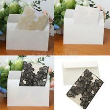 10 Sets Luxury Vintage Floral Lace Invitation Cards Handmade Wedding Craft Cards