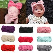 Newborn Baby Girl Crochet Headband Hair Bow Hair Band Elastic Hair Accessory