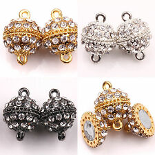Hot 5/10Sets Crystal Rhinestone Round Ball Strong Magnetic Clasps Hooks 19x14mm