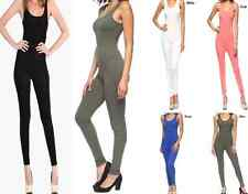 Women's Sexy Solid Sleeveless Tank Catsuit Jumpsuit