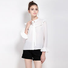 Women Elegant Career Business Shirt Long Sleeve Office Lady Top Ruffle Blouse