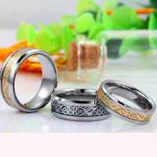 1Pc Gold Silver Dragon Stainless Steel Men Wedding Rings Cool Band Ring 8MM