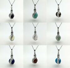 Natural Gemstone Crystal Charms Silver Mermaid Wrap Ball Beads Pendant  Necklace