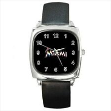 Miami Marlins Round & Square Leather Strap Watch - Baseball MLB