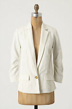 Anthropologie Late Seating Blazer Size 4, Ivory Textured Jacket By Elevenses