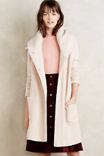 Anthropologie Boiled Wool Sweater Coat Sz L Neutral Beige Hooded Sweater By Moth