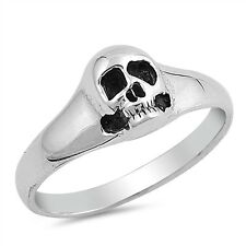 Sterling Silver 925 LADIES MENS BIKER SKULL DESIGN SILVER RING 9MM SIZES 5-10
