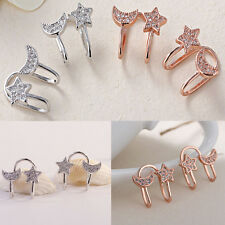 Fashion Moon Star Ear Clip Crystal Ear Stud Elegant Chic Rhinestone Lady Earring