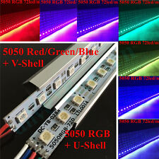1m 0.5m 5050 RGB Red Green Blue LED Strip Light Rigid Bar Aluminum Shell Cap 12V