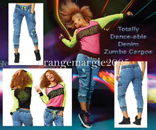 Zumba 2Pc.Set! Get Faded Denim Dance Pants Cargo HipHop,SuperSoft & Glow Top Tee