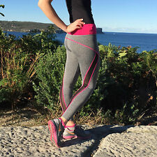 Womens Pink Gym Full Length Tights Workout Yoga Running Ladies Fitness Spandex