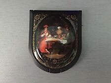 """Russian Small Lacquer box Palekh """" Tea Time """"  Hand Painted With Mirror Insde"""