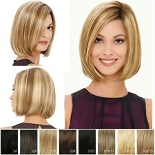 Natural Bob Hair Wig Short Straight Bangs Heat Resistant Full Wigs Cosplay Party