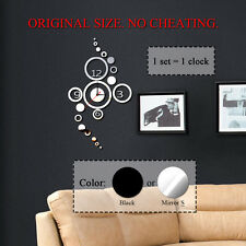 Circles Acrylic Clock Mirror Wall Room Home Decal Decor Vinyl Art Stickers DIY
