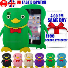 PENGUIN SILICONE GEL CASE & FREE SCREEN PROTECTOR Fits iPod Touch 4