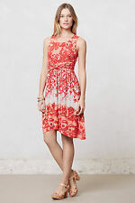 Anthropologie Coral Gardens Dress Size S, Red Floral Asymmetrical Hem By Lilka