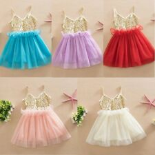 Baby Summer Sundress Girls Kids Princess Party Sequin Tulle Tutu Dress 0-3Y