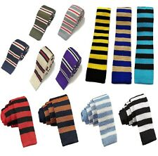 High Quality Men's Fashion Striped Knit Knitted Tie Slim Skinny Woven UK Seller
