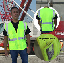 HI VIS ANSI/ISEA Class 2 Safety Reflective Unisex MULTI POCKET Vest ALL SIZES