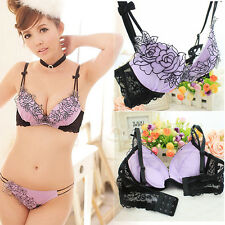 Women Embroidery Lace Bra Set Adjustable Padded Lingerie Underwire Underwear New