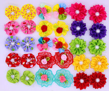 100pcs Mix Dog Hair Bows Round Pealrs Flower Dog Bows Pet Grooming bows Topknot