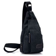 Mens Small Canvas Military Messenger bag Travel Hiking Fanny Bag Sling Chest Bag